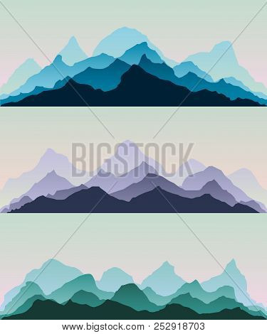 Majestic Mountains.the Abstract Vector Image Reforestation In The Foreground And Different Levels Of