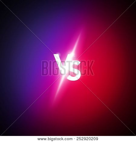 Vector Illustration Neon Versus Logo Vs Letters For Sports And Fight Competition. Battle Match, Game