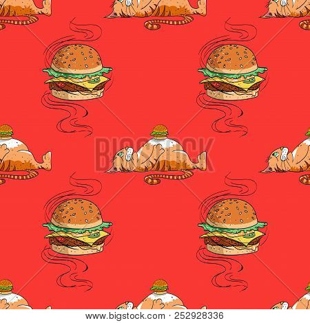 Huge Hamburger And Fat Cat Seamless Pattern, Cartoon Characters Quirky Background.