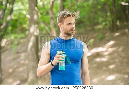 Health And Sport. Sport Health Concept. Sport Man Care About Health. Health Care Of Man Drink Water