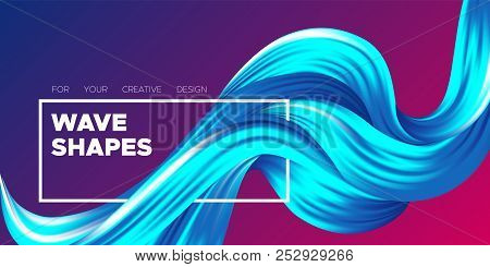 Abstract Flow Background. Wave Fluid Shapes In Blue Color. Trendy Vector Illustration Eps10 For Your