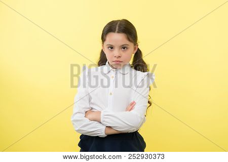 Confident Schoolgirl. Confident And Carefree Schoolgirl. Small Schoolgirl With Confident Look. Confi