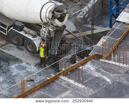 Construction Worker On Construction Site. Top View