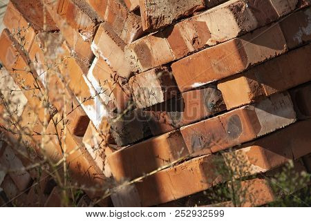 Close Up Of Stacked Red Clay Bricks