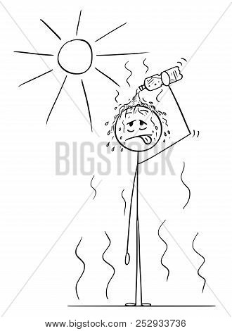 Cartoon Stick Drawing Conceptual Illustration Of Man Standing On Sun In Hot Summer Weather Or Heat A