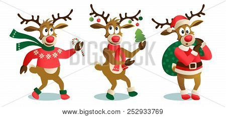 Cute And Funny Christmas Reindeers, Cartoon Vector Illustration Isolated On White Background, Reinde