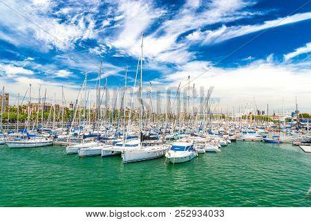 Barcelona, Spain - June 9, 2018: Sailboat At Marina In Barcelona.