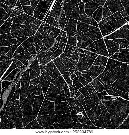 Area Map Of  Ixelles, Belgium. Dark Background Version For Infographic And Marketing. This Map Of  I