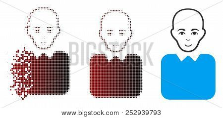 Vector Bald Bureaucrat Icon In Fractured, Pixelated Halftone And Undamaged Whole Versions. Disintegr