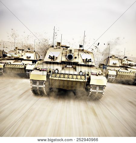 Military armored tank convoy moving at a high rate of speed with motion blur over sand. Generic photo realistic 3d rendering poster