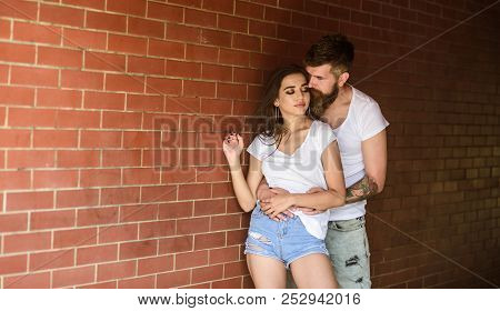 Pure Feelings. Couple Find Place To Enjoy Feelings. Girl And Hipster Romantic Feelings Relations. Co