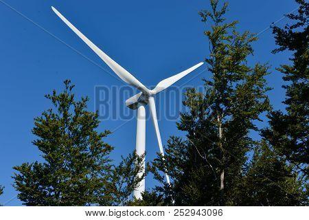 Wind Turbines And Sky