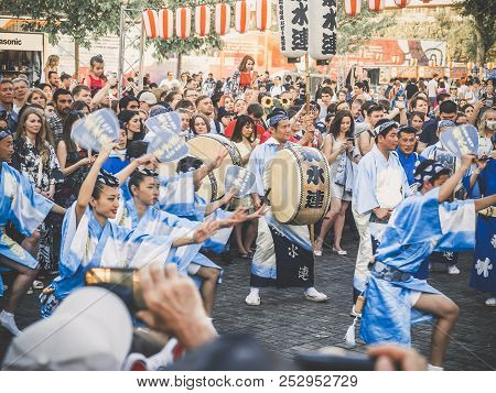 Moscow, Russia - August 09, 2018: Traditional Japenese Awa Dance. Dancers Perform The Bon Odori Danc