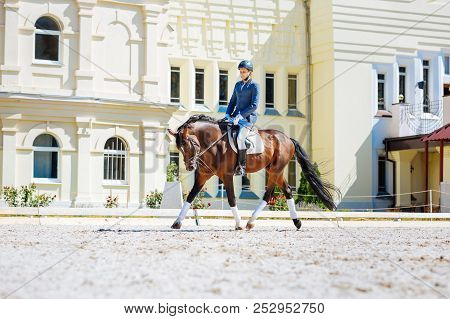 Promising horse man wearing black riding boots sitting on his horse poster