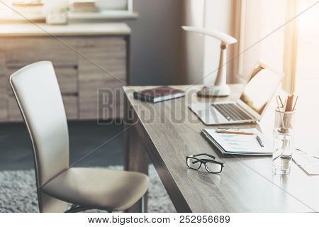 Comfortable Place For People Working At Home. Freelancing At Home. Laptop On Desk. Remote Work Conce