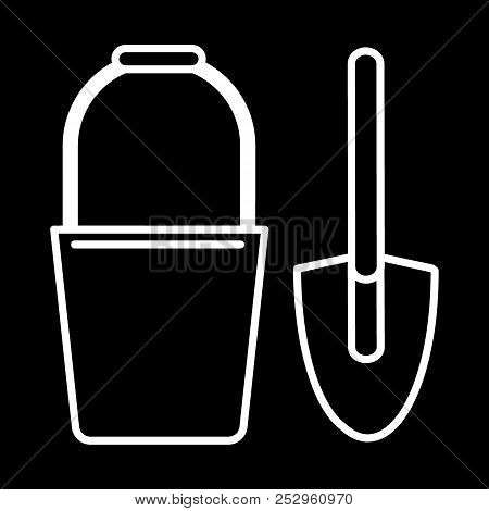 Bucket And Spade Line Icon. Vector Illustration Isolated On Black. Outline Style Design, Designed Fo