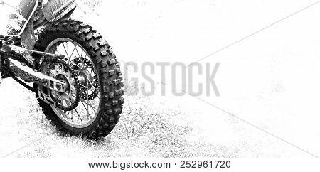 The Rear Wheel Motocross Bike On White Background