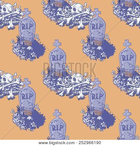 spooky graveyard seamless pattern, cartoon characters quirky background. poster