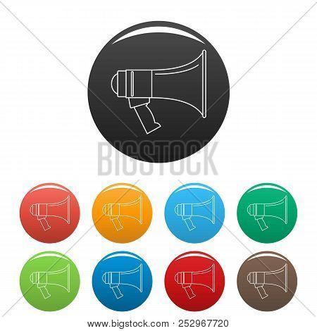 Portable Megaphone Icon. Outline Illustration Of Portable Megaphone Icons Set Color Isolated On Whit