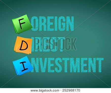 Foreign Direct Investment (fdi) Written On Color Notes. Acronym Concept Illustration Over A Green Ba