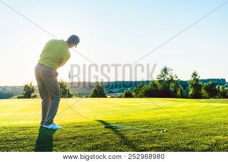 Full length rear view of an experienced male golfer hitting the golf ball towards the cup on the putting green, during a professional individual game in summer