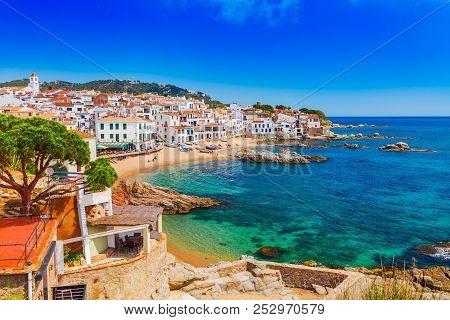 Sea Landscape With Calella De Palafrugell, Catalonia, Spain Near Of Barcelona. Scenic Fisherman Vill