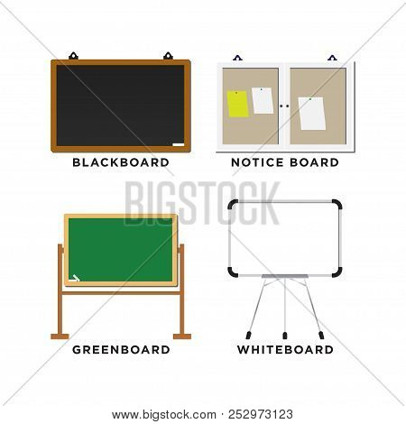 Set Of Blackboard, Greenboard, Whiteboard And Notice Board