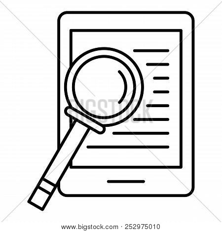 Device Search Icon. Outline Illustration Of Device Search Icon For Web Design Isolated On White Back
