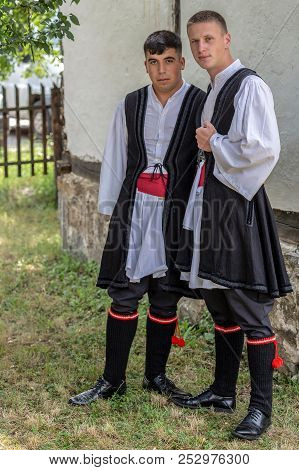 Timisoara, Romania - June 10, 2018: Two Youth Macedo-romanian Ethnics From Banat, In Traditional Cos