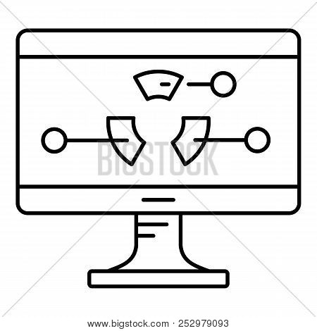Diagram At Monitor Icon. Outline Illustration Of Diagram At Monitor Icon For Web Design Isolated On