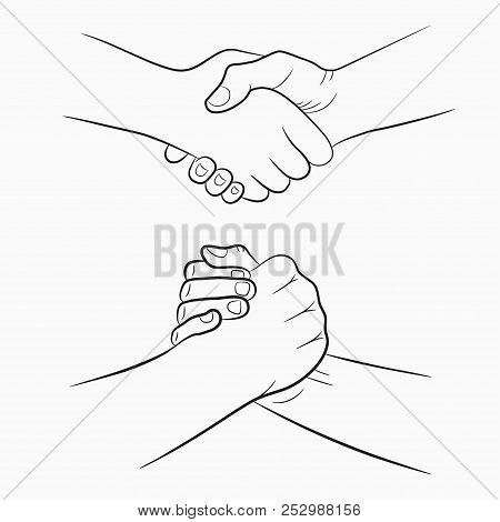 Handshake Hand-drawn Signs Set. Brotherly And Friendly Drawing Shake Hands. Vector Illustration.