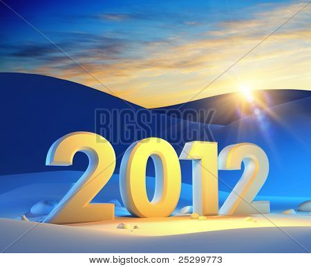 new year 2012, 3d render poster
