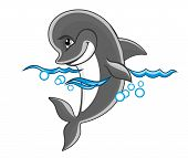Beautiful cheerful dolphin in water for children book design poster