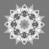 abstract fractal design in muted grey tones on a flat background poster