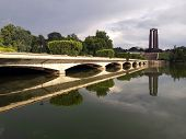 Heroes Monument reflecting in the lake. The Carol Park Mausoleum Mausoleul din Parcul Carol was built in honor of revolutionary socialist militants poster