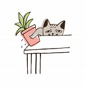 Nasty cat throwing potted plant off table. Amusing naughty kitty dropping houseplant isolated on white background. Disobedient behavior of domestic animal. Colorful hand drawn vector illustration. poster