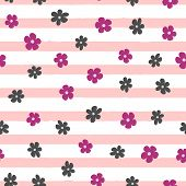 Repeated small abstract flowers on uneven striped background. Cute floral seamless pattern. Endless feminine print. Girly vector illustration. poster