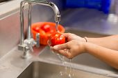 Woman hands washing fresh tomatoes under kitchen sink. poster