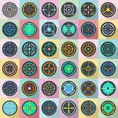 Crosshair target scope sight icons set. Flat illustration of 36 crosshair target scope sight icons for web poster