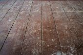 old wooden board floor / floorboards in  apartment room before refurbishment - poster