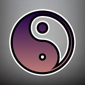 Ying yang symbol of harmony and balance. Vector. Violet gradient poster