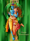 Lord Krishna playing bansuri flute with Radha on Happy Janmashtami holiday festival background poster