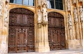 main entrance doors to cathedral in Ulm Germany poster