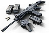 Assault rifle with tactical accessories front and rear sites , and a laser guided rifle scope and ammo clips on a white background . 3d rendering poster
