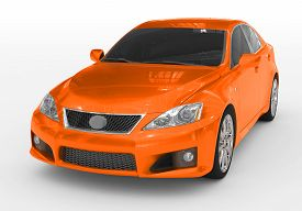 Car Isolated On White - Orange Paint, Tinted Glass - Front-left Side View - 3d Rendering