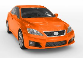 Car Isolated On White - Orange Paint, Tinted Glass - Front-right Side View - 3d Rendering