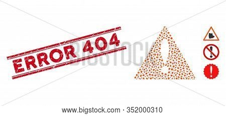 Rubber Red Stamp Seal With Error 404 Text Between Double Parallel Lines, And Mosaic Error Icon. Mosa