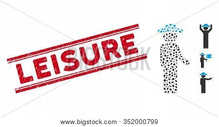 Grunge Red Stamp Watermark With Leisure Text Between Double Parallel Lines, And Mosaic Gentleman Idl