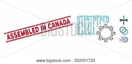 Grunge Red Stamp Seal With Assembled In Canada Text Inside Double Parallel Lines, And Mosaic Bar Cod
