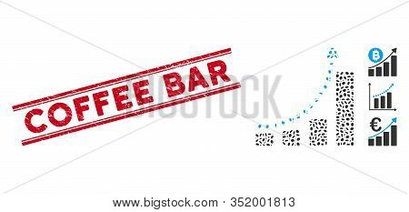 Corroded Red Stamp Seal With Coffee Bar Text Inside Double Parallel Lines, And Mosaic Bar Chart Tren
